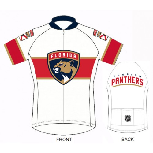 NHL Team Florida Panthers White cycling Jersey Short Sleeve