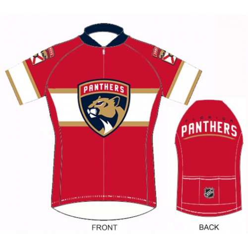 NHL Team Florida Panthers Red cycling Jersey Short Sleeve